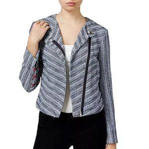 Rachel Roy Bomber Jacket Zip Tweed Navy